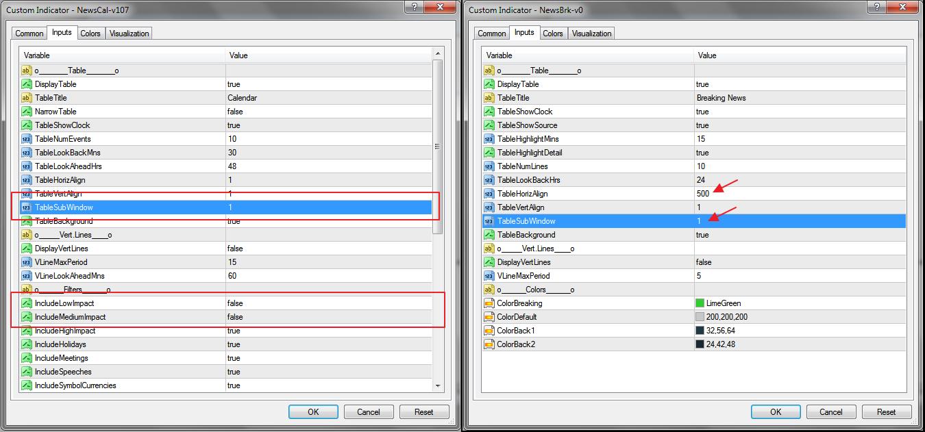 NewsCal parameter.
