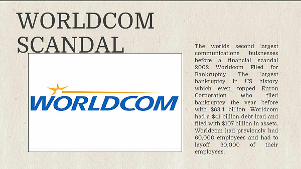accounting scandals enron worldcom Enron was all about complex partnerships and accounting for special purpose entities but what worldcom did wrong is something that's taught in the first few weeks of a core financial.