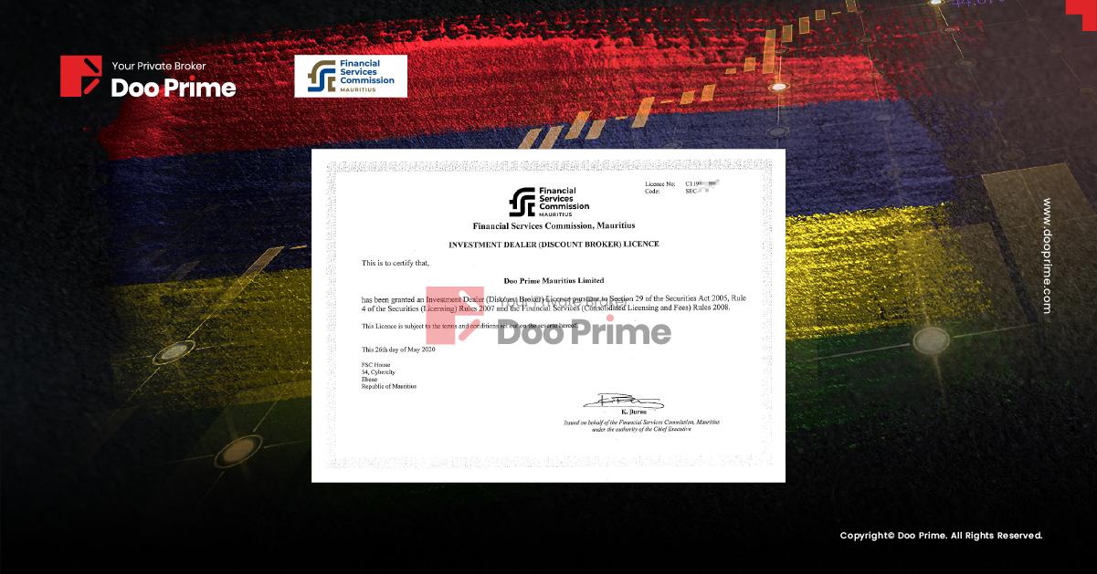Giấy phép đại lý đầu tư (nhà môi giới chiết khấu) của Doo Prime duyệt bởi Ủy ban tài chính Mauritius